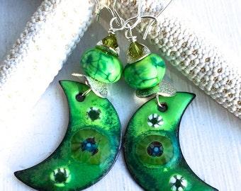 Viridian Crescent Earrings