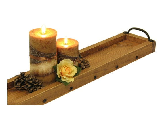Candle centerpiece tray wooden by bridgewoodplace