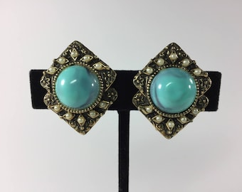 Vintage Gold Clip Earrings with  Turquoise Glass and Seed Pearls