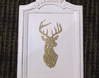 Romantic home shabby white wall decor, gold glitter deer head sihouette, repurposed wall decor