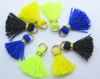 Mini Cotton Jewelry Tassels with Gold Binding and Gold Plated Jump Ring - Sampler Pack - 8pcs - Approx 10mm - MTSP1 - 4 Colors