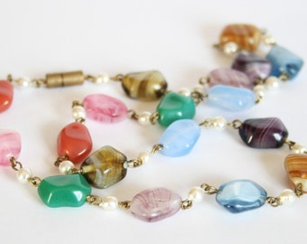 Vintage Czech glass bead necklace. Multi coloured beads.