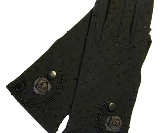 Vintage Gloves, La Regale Black with Beads, Buttons and Flowers, Period Costume, Never Worn, Stretch Nylon, Formal, Elegant, One Size