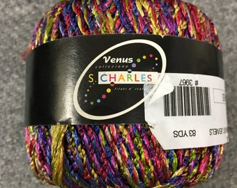 Stacy Charles Venus Yarn, Color 15 Bright Jewels, Plied Multicolor Novelty Yarn, Aran Weight Vegan Nylon for Knitting, Crochet, Crafts