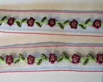 Embroidered organza trim