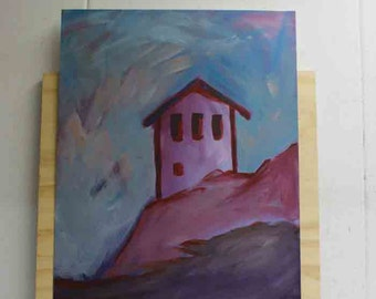 Original painting - House in the mountains - pink blue - serene still mood serenity freedom clear mind