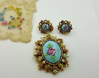 Art  Guilloche Enamel Brooch and Clip Earrings Floral set Pink Blue Victorian