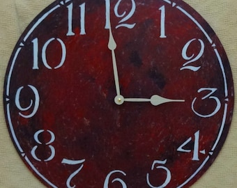 22 Inch LARGE WALL CLOCK with Arabic Numbers in Red, Big Red Clock