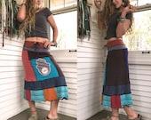Eco short boho Skirt, S/M, patchwork skirt, eco clothing,boho jersey skirt, hamsa skirt,hippy skirt, jersey skirt,bold  skirt, Zasra