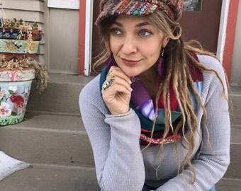 Jersey Infinity SCARF, Upcycled scarf, patchwork scarf, chunky scarf, urban scarf, scarf, eco scarf,jersey scarf, rainbow tiedye mix,Zasra