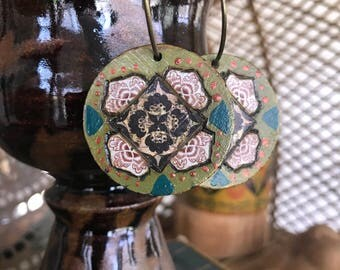 Lotus EARRINGS, reversible earrings ,folk earrings, zen earrings, wood earrings, hoop earrings, hippy earrings, mandalaearrings Zasra