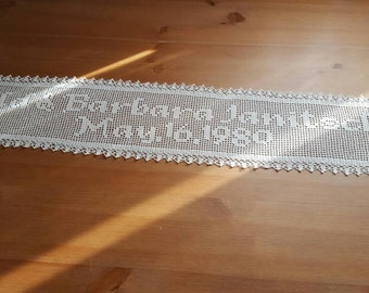 Personalize Crochet Name Doily,  personalized doily,  crochet name personalized,anniversary gift, wedding gift,wedding sign