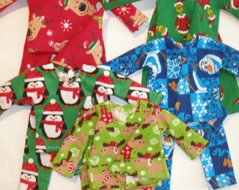 """Handmade Elf clothes (12"""") - PJ's for boy and girl elf - your choice of Holiday print - grinch, penguins, moose or frozen"""