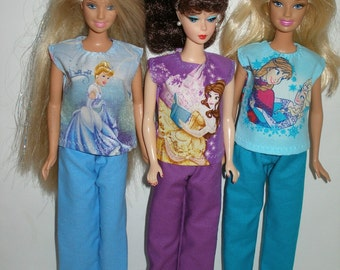 "Handmade 11.5"" fashion doll clothes -Princess pant set - choose your color - blue, purple or aqua"