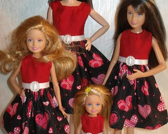 """Handmade 11.5"""" fashion doll and sisters clothes - 4 fashion doll sisters black and red hearts dresses"""