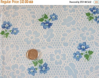 Going Out Of Business Vintage Feedsack Fabric-Feed sack-Blue Floral-Half Yard