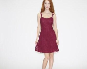 Final SALE 55% Off - 1990s Vintage Lace Oxblood Party Dress - Vintage 90s Lace Dresses  - 1990s Lace Dresses  - WD0497