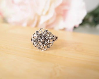 Filigree Floral Ring-Aged brass-adjustable-steampunk-Victorian-edgy chic- statement-armor ring V077