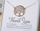 Family Tree Necklace,tree of life,Mother's day gift,Mother of the groom gift,mother in law gift,gift from bride to mom,custom message card