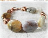50% OFF SALE Asymmetrical Jewelry Gemstone Bracelet Petrified Wood Bracelet Solid Copper Jewelry Toggle Bracelet Pterified Wood Jewelry Gems