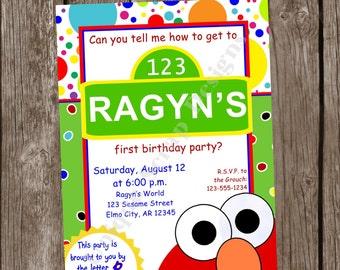Peeking ELMO Too Birthday Party Invitation Style DI2147 DIGITAL File - Printable - by Unique Scrap Designs