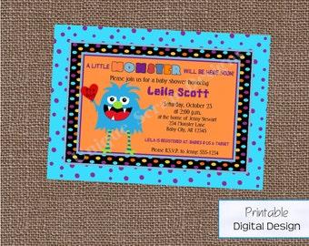 Little Monster Baby Shower Invitation Style DI2119 DIGITAL FILE - Printable - by Unique Scrap Designs