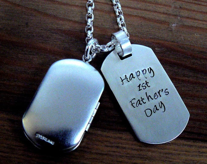 Custom Thick Sterling Men's Locket and Dog Tag Necklace
