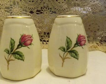 Vintage Paden City Pottery Salt And Pepper Shaker Set -- Old Rose Pattern