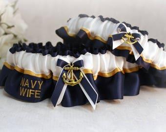 Military U.S. Navy Wedding Garter Set - Navy Dress Blue Wedding Garters - Something Blue Garters - Navy Wife Wedding Garter set