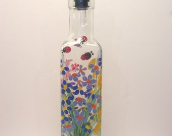 Hand Painted Wild Flowers Pour Oil Vinegar Soap Bottle Ladybugs Dragonflies Purple Pink  Blue Red Yellow White Green
