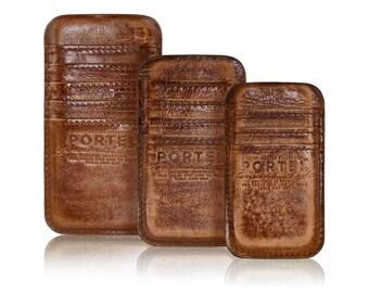 iPhone RETROMODERN aged leather pocket - - LIGHTBROWN