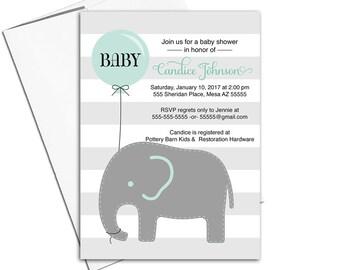 Elephant baby shower invitation balloon - gray teal baby shower - gender neutral baby shower invite - DIY Printable invitations - WLP00791