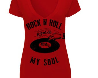 Rock N Roll Stole My Soul V-neck Tee