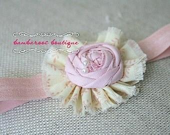 Baby headband, Newborn headband, Vintage headband, Pink headband