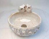 White Owl Orchid Planter - Pottery Trinket Bowl - Owl Ring Holder - Owl Tealight holder - Wheel Thrown Pottery  - Jewelry Organizer
