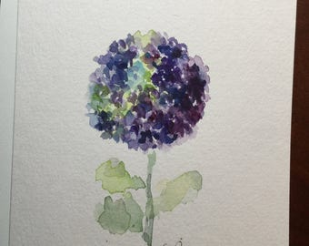 Single Purple Hydrangea Watercolor Card / Hand Painted Watercolor Card