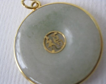 Authentic 10 K Gold ''Good Luck'' Jade Pendant