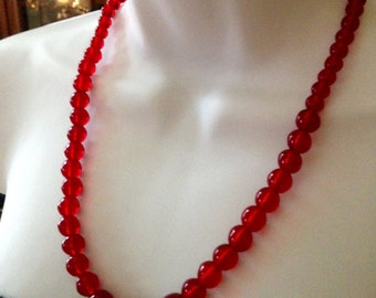 Vintage Art Deco Red Glass Glowing Bead Necklace Stunning