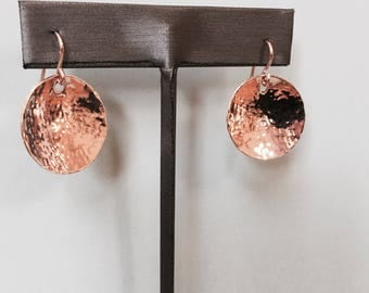 14k Pink - Rose- Gold filled - Disc Earrings- Hammered and polished - Offering 3 size Discs