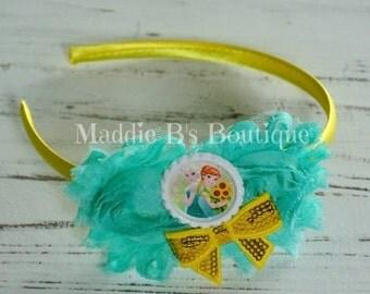CLOSING SALE Frozen Fever Headband-Disney FROZEN-Elsa Anna Sunflowers shabby flower headband-made by Maddie B's Boutique