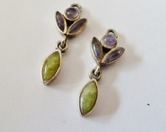 Sterling Earring, Amethyst & Green earrings, Petite Earrings, Stud Dangle earrings