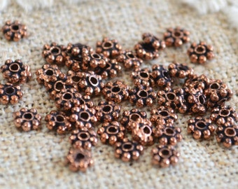 490pcs Antiqued Copper Metal Beads Spacer 4x1mm Beaded Rondelle 50 Grams