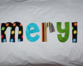 Personalized Pillowcase - Standard Size, Custom Name and Fabrics - birthday gift, summer camp, child's bedding, bedroom decor, kids