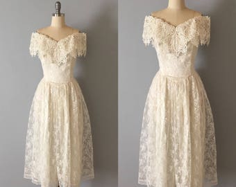 Jessica McClintock wedding dress || new old stock lace tulle dress || 1980s off the shoulder corset lace princess dress