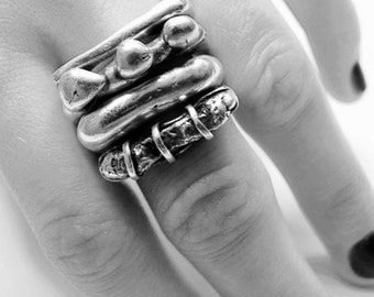 Sterling Silver .925 Stackable Four Ring Assortment, sizes  5, 6, 7 -- available in shiny, oxidized, and blackened finish