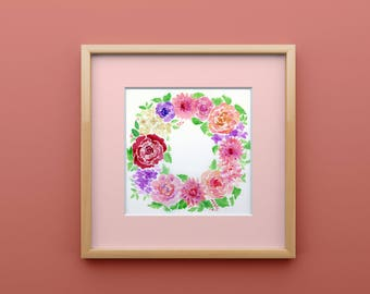 Colorful Floral Watercolor Wreath Print