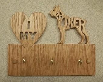 I Love My Boxer Key/Leash Hanger