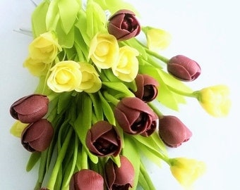 Miniature Polymer Clay Flowers Supplies Handmade Tulip with Leaves, 12 stems