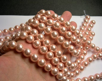 Shell pearl  - 12mm round -  Peach - 1 full strand - 33 beads - SPT19