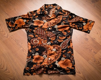 Super Fly Mod Disco Buttonup Shirt, Men's Paisley Flowers, Vintage 60s, Stretch Fit